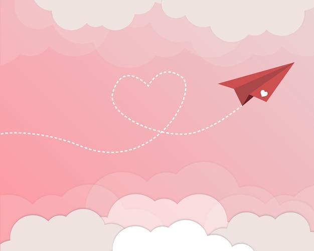 Hübsches flugzeug für valentinstaghintergrund