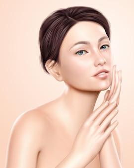 Hübsches frauenmodell, attraktives modell für kosmetische oder medizinische anzeigengebrauch, 3d illustration