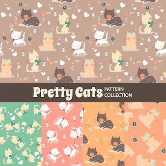 Hübsches katzen-niedliches regenbogen-nahtloses muster