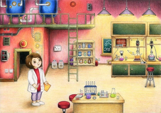 Hübsches mädchen arbeitet im chemischen labor. von hand gezeichnet.