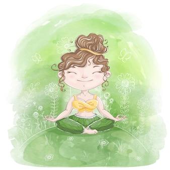 Hübsches mädchen meditiert in lotus asana über die natur.