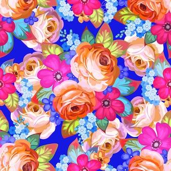 Hübsches vintages nahtloses muster mit rosen und mohnblumen 3