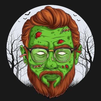Hübsches zombiegesicht über gruseligem halloween-charakter des vollmonds