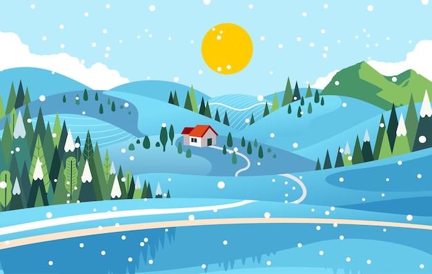 Hügel und wald in der winterzeit, ein haus in der mitte der flachen illustration des baumes und des schneefalls. verwendet für hintergrund, banner und andere