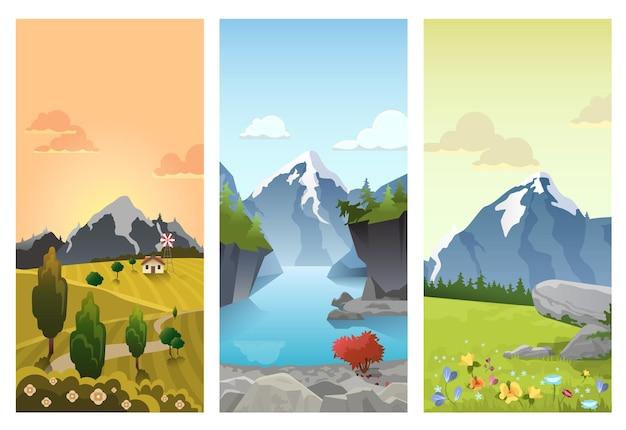 Hügelige berge landschaft in jahreszeiten: frühling sommer herbst