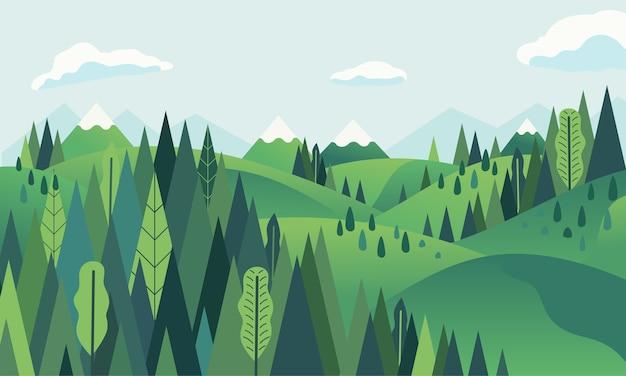 Hügellandschaft mit berg- und waldlandschaft