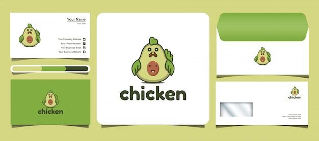 Hühnchen-logo-vorlage mit einem avocado-konzept