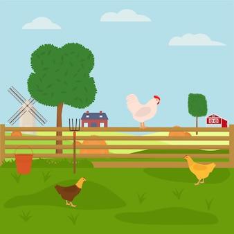 Hühner, die auf dem bauernhof spazieren gehen. flache vektorillustration