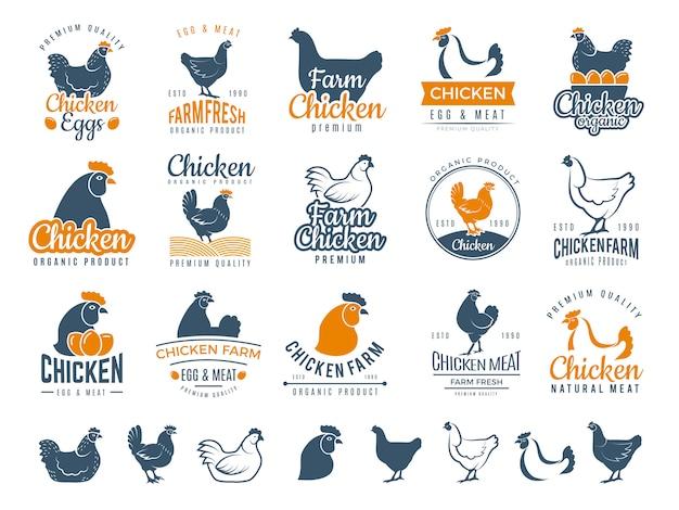 Hühnerabzeichen. frisches bäuerliches nahrungsmittellogo, das eier- und vogelhähnchenvektoretiketten kocht