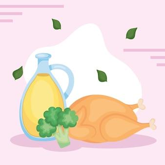 Hühnerbrokkoli und olivenöl