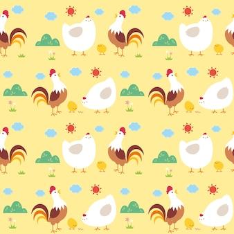 Hühnerfamilie muster hintergrund