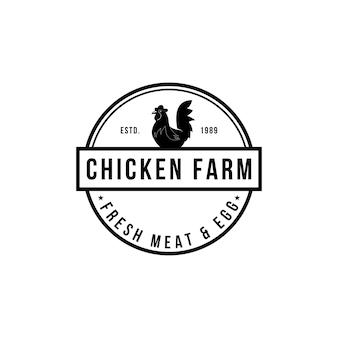 Hühnerfarm logo vintage premium-qualität. frische eier-logo. premium-elementdesign-verpackung. embleme und logos. attraktive designs für bauernmarkt, gehöft, geflügelfarm, messe, restaurant.