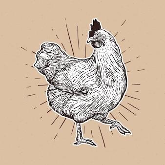 Hühnerhand gezeichnet