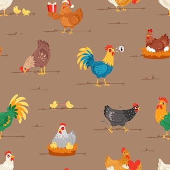 Hühnerkarikaturkükencharakter henne und hahn verliebt in babyhühner oder henne, die auf eiern im hühnerstall-illustrationssatz von hausvögeln im nahtlosen musterhintergrund des hühnerstalles sitzen