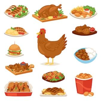 Hühnerkarikaturkükencharakter henne und lebensmittel hühnerflügel mit gemüse und grillwurst für abendessen illustration satz fastfood burger und pommes frites auf weißem hintergrund