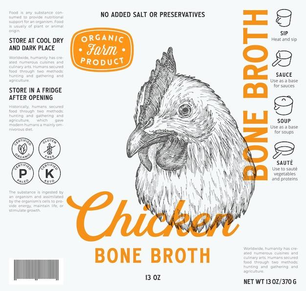 Hühnerknochenbrühe etikettenvorlage abstrakte vektor lebensmittelverpackung design-layout moderne typografie mit ...