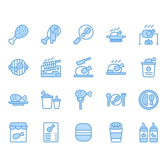 Hühnerkochen und lebensmittelbezogener ikonensatz