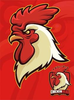 Hühnerkopf-maskottchen für sport- oder hochschulmaskottchen