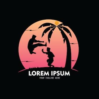 Hühnerladen-silhouette-logo-vektor-design