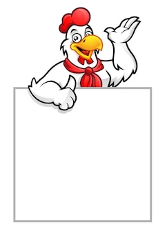 Hühnermaskottchen oder hahn mit leerem zeichen