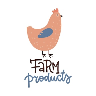 Hühnerplakat frischer gesunder bauernhoflebensmittelvektordesignplakatbriefbrieftext mit flacher hand gezeichneter henne