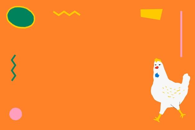 Hühnerrahmen auf orangefarbenem hintergrund niedliche und bunte tierillustration