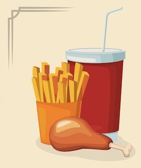 Hühnerschenkel mit pommes-frites und alkoholfreiem getränkcup
