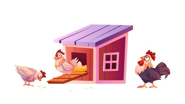 Hühnerstall-cartoon-warnhaus für hühner und hähne isoliert vektorküken tragen eier im nest