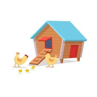 Hühnerstall mit hühnern hühnerstall cartoon-vektor-illustration