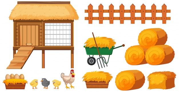 Hühnerstall und heu auf weißem hintergrund