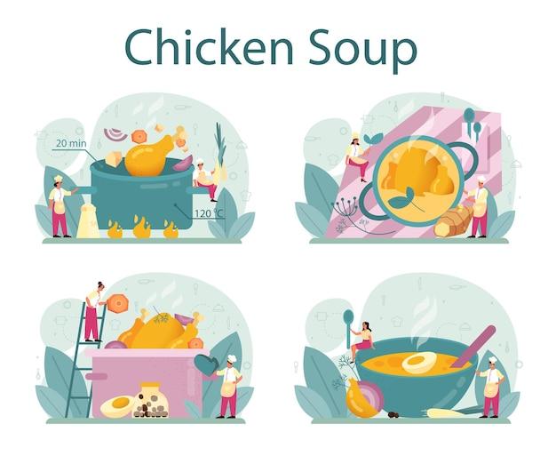 Hühnersuppe eingestellt. leckeres essen und fertiggericht. hühnerfleisch, zwiebel und kartoffel, karottenzutat. hausgemachtes abendessen oder mittagessen auf dem teller. flache illustration
