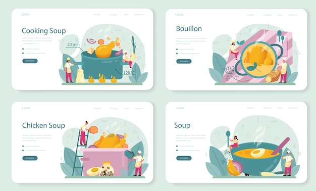 Hühnersuppe web banner oder landing page set. leckeres essen und fertiggericht. hühnerfleisch, zwiebel und kartoffel, karottenzutat.