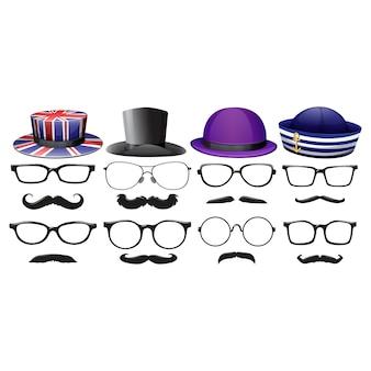 Hüte, brillen und schnurrbärte sammlung