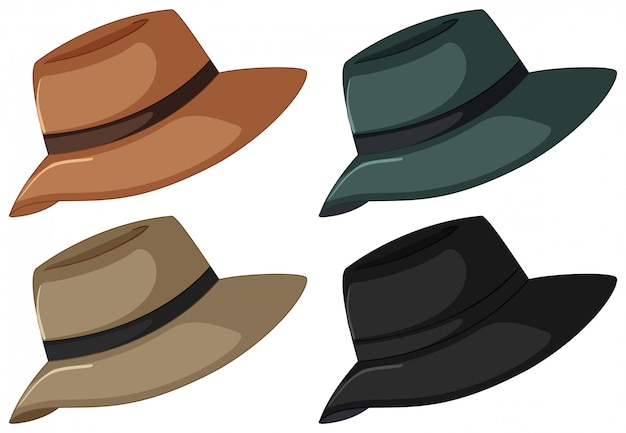 Hüte in vier farben