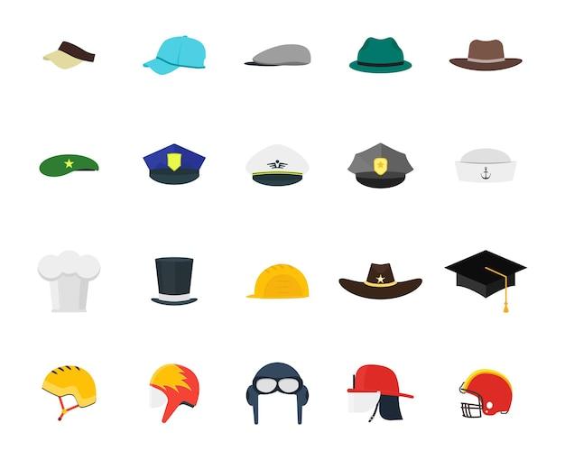 Hüte setzen mode für männer. flacher designstil. verschiedene arten für berufe.