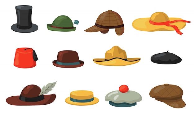 Hüte und mützen gesetzt