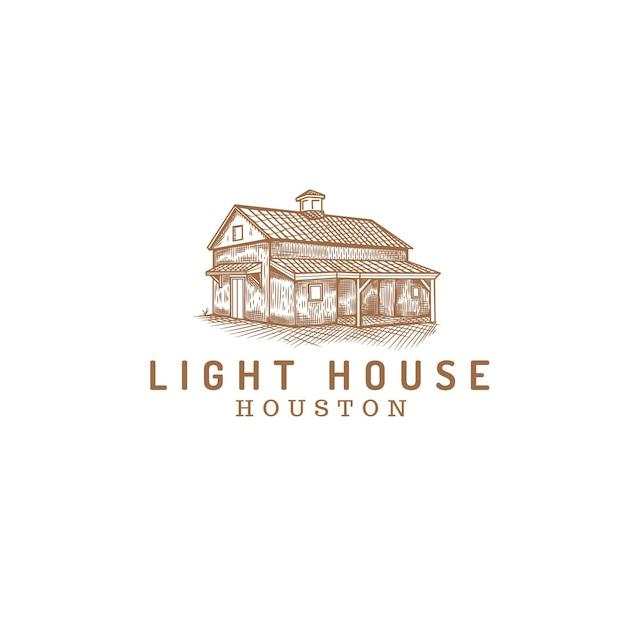 Hütte im wald abstraktes logo