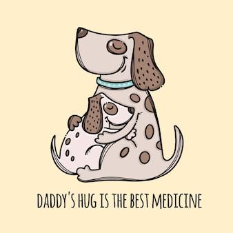 Hug daddy father dog