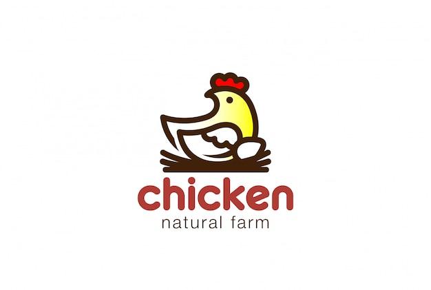 Huhn, das auf linearer vektorikone des nest-logos sitzt.