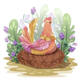 Huhn im nest.