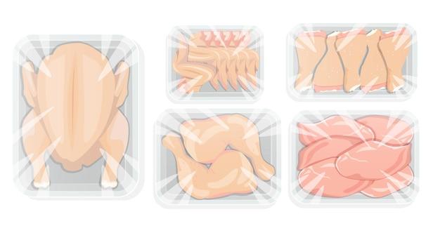 Huhn in weißer tablettverpackung. ganzes huhn und seine teile