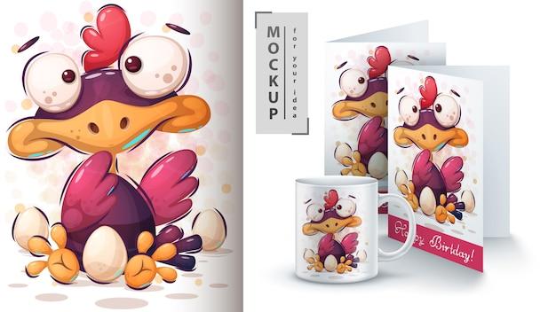 Huhn mit eierplakat und merchandising