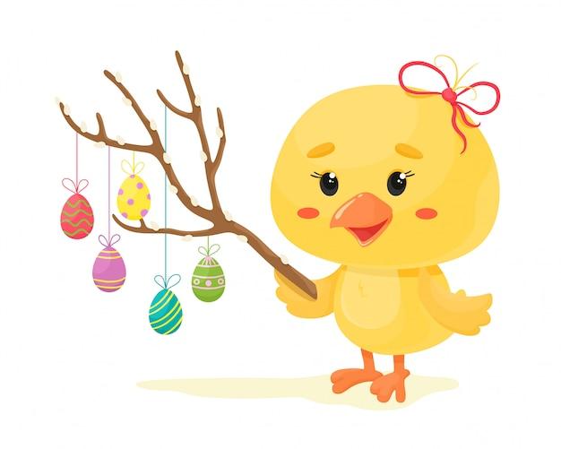 Huhn mit osterweidenzweig und eiern. isolieren in cartoon flachen stil. frohe ostern