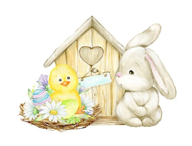 Huhn, ostereier, nest, gänseblümchen, vogelhaus, kaninchen. ein kinderbild. aquarell clipart für die osterferien.