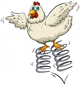 Huhn über dem frühling