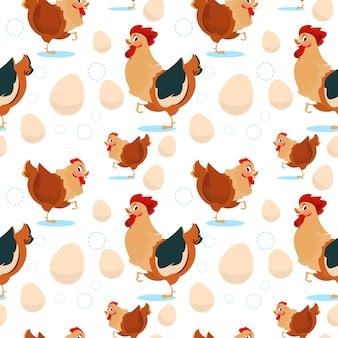 Huhn und hahn, die nahtloses muster bewirtschaften