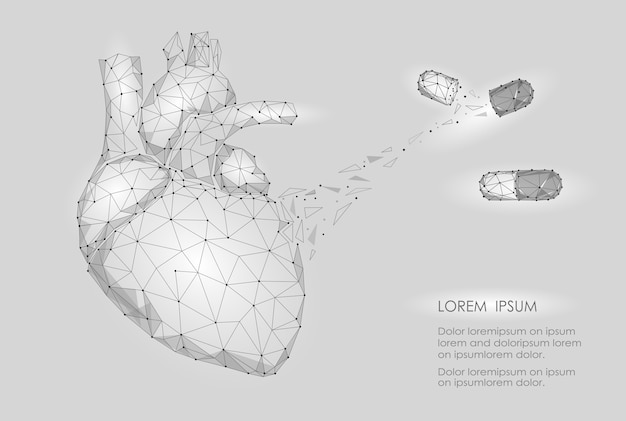 Human heart medicine treatment drug dreieck des inneren organs low poly