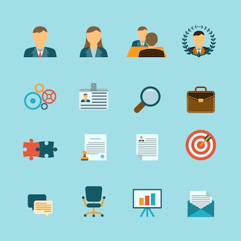 Human resources flache icons set