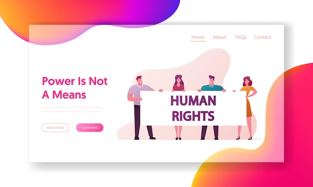 Human right landing page vorlage.