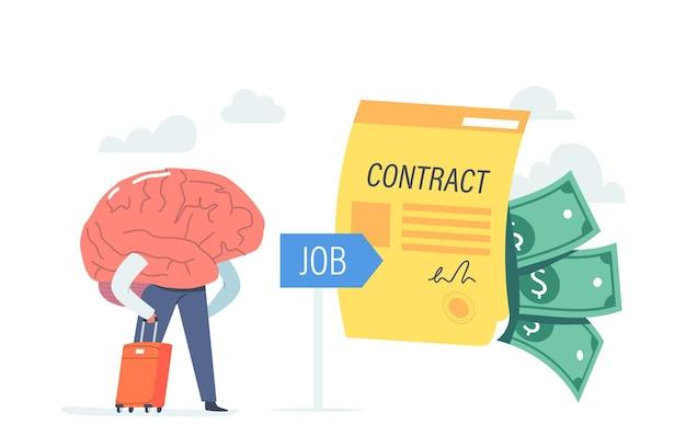 Humanisiertes gehirn mit kofferstand bei riesigem vertrag und geld. businessman character research jobchance im ausland für beschäftigung im ausland, arbeitsmigration. cartoon-vektor-illustration